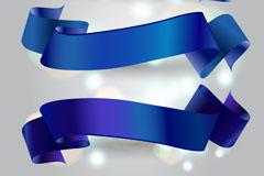 3款蓝色丝带banner矢量素材