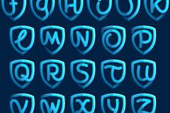26个蓝色盾牌字母矢量素材