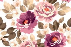 紫色水彩花卉无缝背景矢量素材