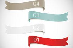 4款彩色带数字的丝带矢量素材