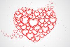 红色爱心气泡拼图矢量素材
