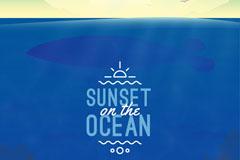 创意大海上的日落插画矢量素材