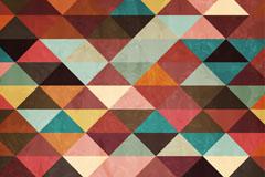 复古彩色三角形拼接背景矢量素材