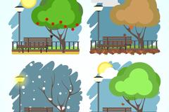 4款四季树下的长椅风景矢量图