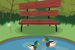 公园中的池塘风景和野鸭矢量素材