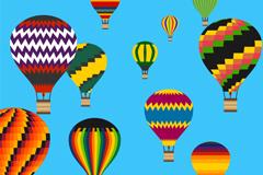 多款缤纷花纹热气球矢量素材