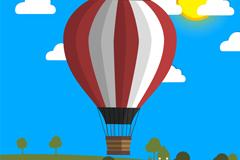 创意条纹热气球和原野矢量素材
