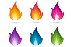 6款彩色火焰设计矢量素材