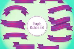10款紫色丝带设计矢量素材