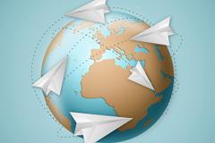 创意地球与纸飞机矢量素材