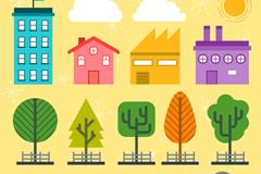创意街边建筑和树木设计矢量素材