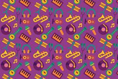 紫色创意乐器无缝背景矢量素材