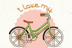时尚绿色单车矢量素材