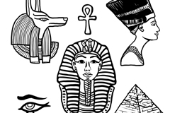 6款手绘古埃及元素矢量素材