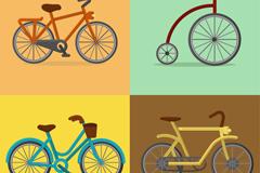4款彩色自行车设计矢量素材