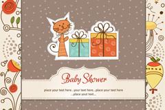 卡通猫咪迎婴派对卡片矢量图