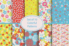 10款彩色花卉无缝背景矢量素材