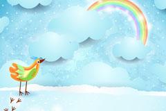 彩色鸟与彩虹剪贴画矢量素材
