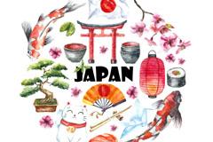 水彩绘日本特色元素集合矢量素材