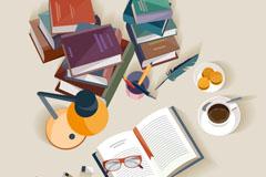 书本和咖啡等元素书桌俯视图矢量