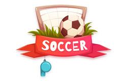创意球门里的足球和哨子矢量素材