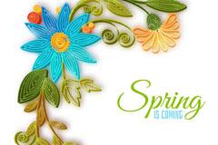 创意春季蓝色立体花朵插画矢量图