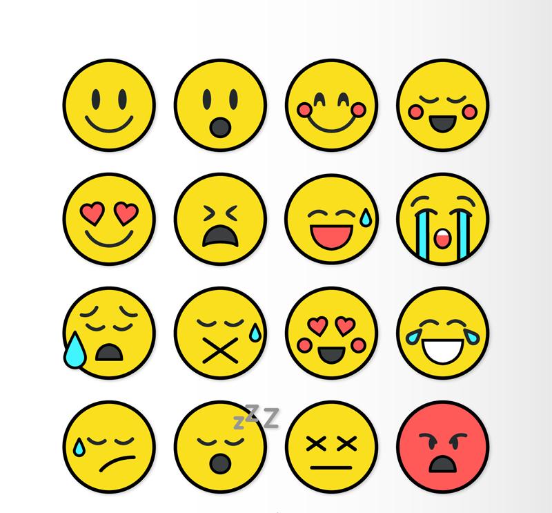 矢量图标   ai格式,含jpg预览图,关键字:圆形,表情,笑脸,惊讶,害羞图片