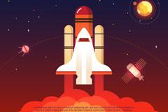 卡通升空的宇宙飞船和星空矢量素材