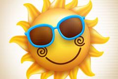 戴太阳镜的笑脸太阳矢量素材