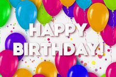 彩色气球装饰生日祝福贺卡矢量图