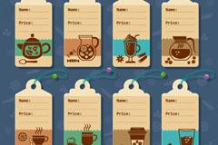 8款创意饮品价格吊牌矢量素材