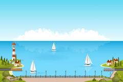 卡通海岸和帆船风景矢量素材