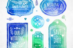6款蓝绿色水彩婚礼标签与吊牌矢量图