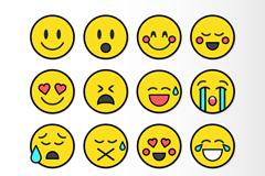 16款黄色圆形表情设计矢量素材