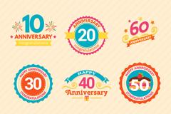9款彩色周年纪念标签矢量素材