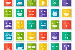30款方形表情图标矢量素材