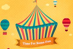 创意马戏团帐篷和热气球矢量素材