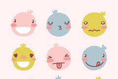 9款可爱包子脸表情矢量素材