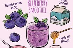 彩绘蓝莓奶昔食谱矢量素材