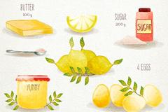 水彩绘柠檬酱食谱矢量素材