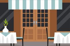 时尚室外餐馆设计矢量素材