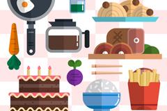 15款扁平化食物和厨具矢量素材