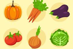6款常见彩色蔬菜矢量素材