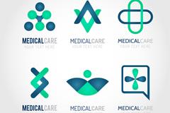 6款蓝绿配色创意医疗标志矢量素材