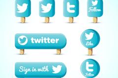 8款蓝色twitter冰棒图标矢量素材