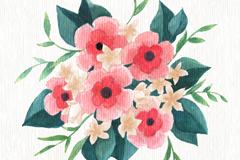 粉色水彩绘花束矢量素材