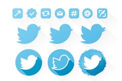 18款蓝色twitter图标矢量素材