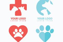 4款扁平化宠物元素标志矢量素材