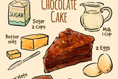 彩绘朱古力蛋糕食谱矢量素材