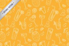 橙黄色夏季饮料无缝背景矢量素材